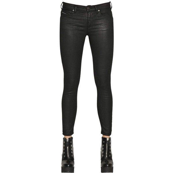 Diesel Black Gold Women Type 152 Waxed Cotton Knit Jeans ($360) ❤ liked on Polyvore featuring jeans, black, button-fly jeans, knit jeans, diesel black gold, waxed jeans and 5 pocket jeans