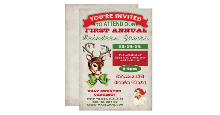 """Reindeer Games Christmas Party Invitation Vintage Circus Inspired Poster Christmas Holiday Party Super fun Holiday party with a super cute reindeer all dressed up for the holidays and a vintage santa welcome you to the """"reindeer games"""" against an antique background. Features an ugly sweater contest and fun typography. Wording can be changed to fit your needs."""