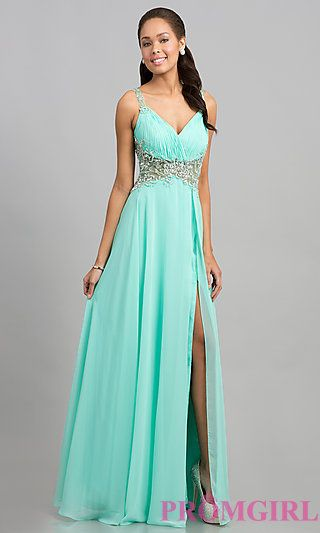 Long Sleeveless Beaded Dress with Sheer Waist at PromGirl.com