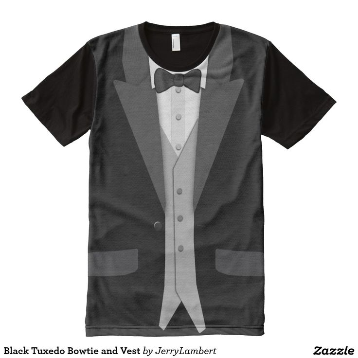 Black Tuxedo Bowtie and Vest All-Over Print Shirt