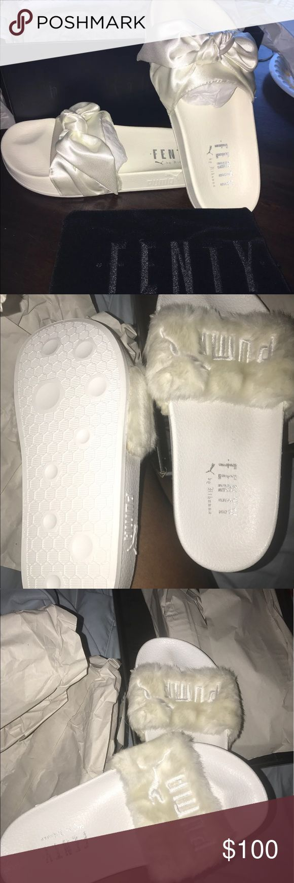 RIHANNA PUMA FENTY LEADCAT FUR AND BOW These are brand new and I have the bow and the fur but only certain sizes PLEASE MAKE SURE TO CONTACT ME   @ (470-262-1137) for which type and size to see if it's available before purchasing  these are 100% authentic I bought them online when they came out any more questions contact me Rihanna Shoes Sandals