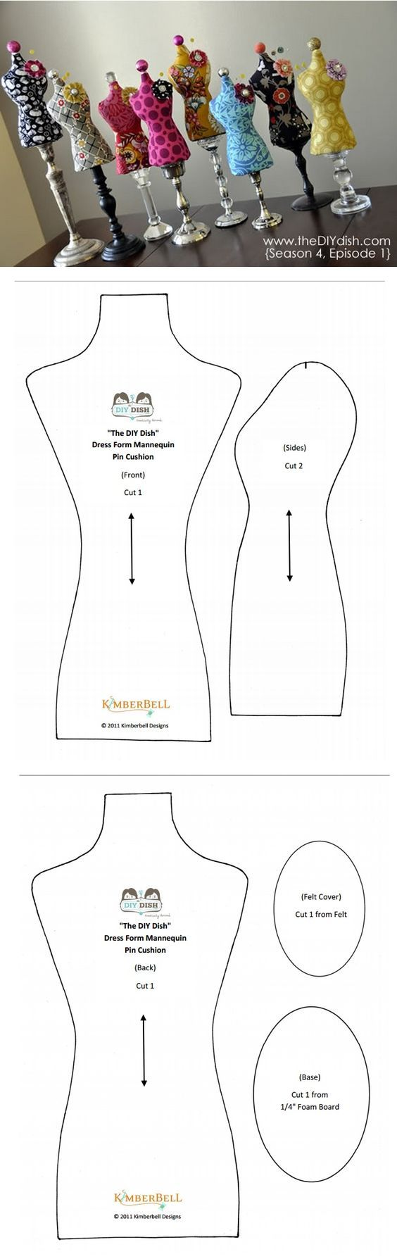 Dress form pincushion pattern and tutorial.:
