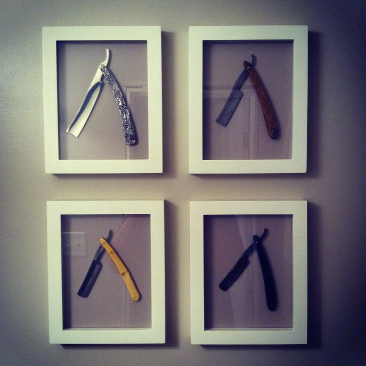 straight razor bathroom art