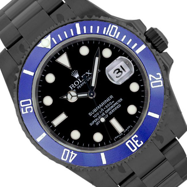 Blue Rolex 16610 Submariner 40MM Stainless Steel Black DLC PVD Coated SportWatch #Rolex #Casual