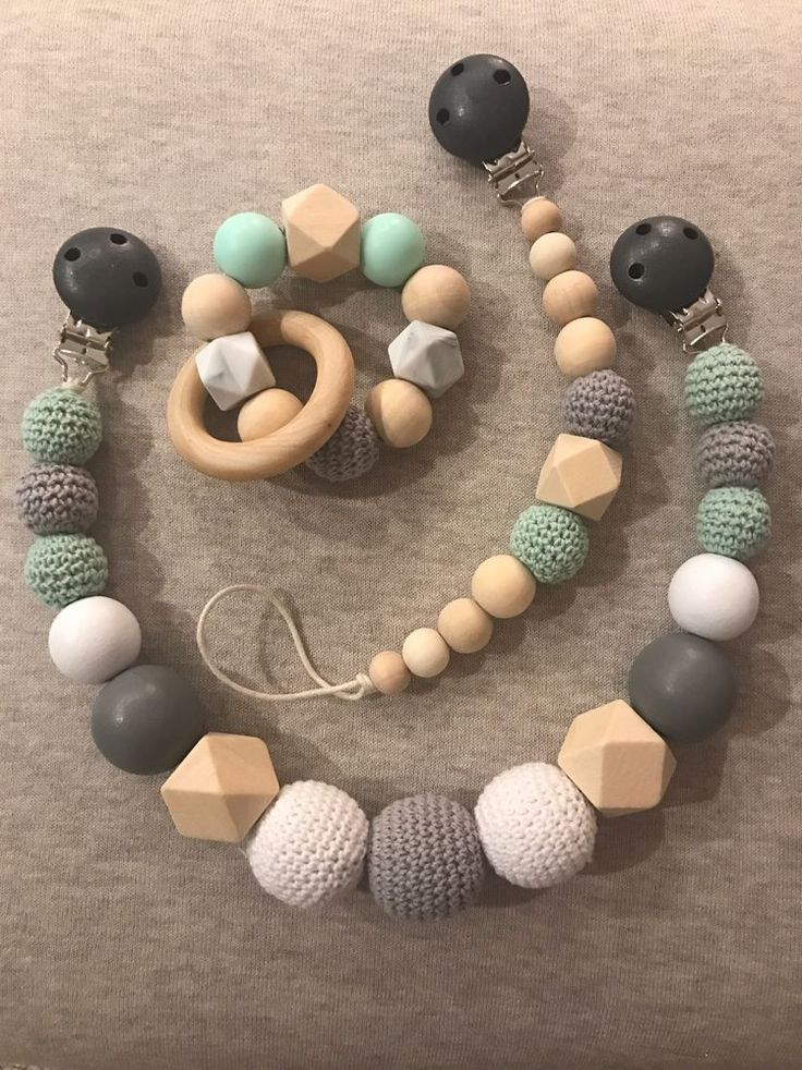 Handmade Baby Gift Set - Wooden / Crochet Pram Chain Garland, Wooden / Crochet Dummy Clip, Teething Rattle Toy. Could make a perfect Baby shower or Newborn Baby gift. Matching teething bracelet is making a perfect combination for a gift. | eBay!