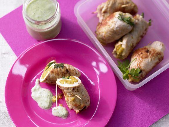 Putenrouladen mal anders gefüllt: Mit würziger Curry-Linsen-Masse enthalten die tollen Rollen kaum Fett, bringen aber viel Eiweiß und Geschmack.