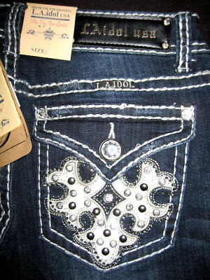 L.A. IDOL★MEGA BLiNg JEANS★SeXy Me★FLEUR DE LIS★NWT★1    Other sizes and styles available
