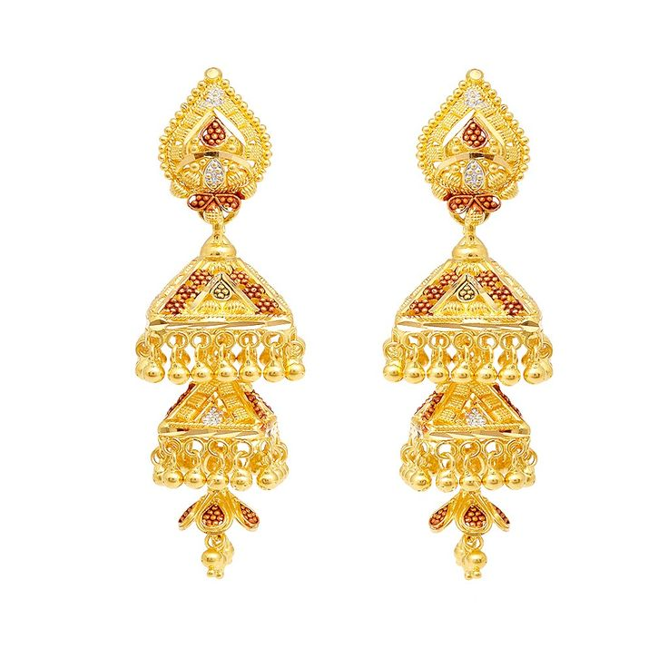 Gold Bell Earrings | dancing bell shape gold earrings dancing bell shape gold earrings ...