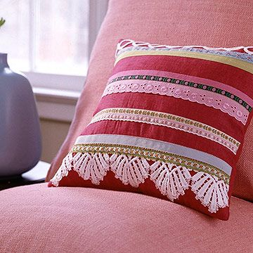 Pillow with Rows of Ribbon and Lace