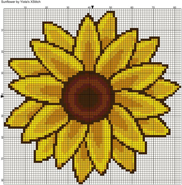 Sunflower free cross stitch pattern