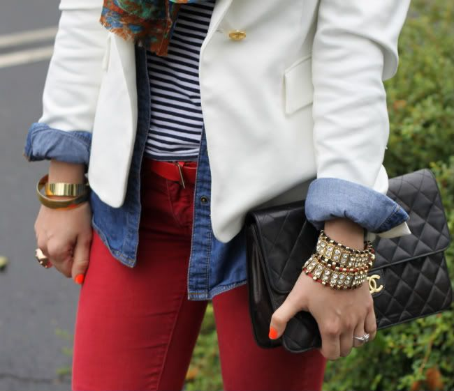 H Denim Shirt & Striped Shirt, Zara Blazer, Rich & Skinny Jeans, Lucky Brand Scarf,  Zara Belt, Modern Vintage Shoes, Vintage Chanel Bag.: Red Skinny, White Blazers, Style, Colors Jeans, Red Jeans, Chambray Shirts, Denim Shirts, Stripes Shirts, Red Pants