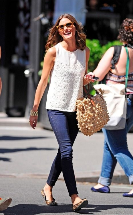 Simple.: Oliviapalermo, Outfits, Fashion, Summer Style, Jeans, Leopards Prints, Olivia Palermo, White Tops, Leopards Flats