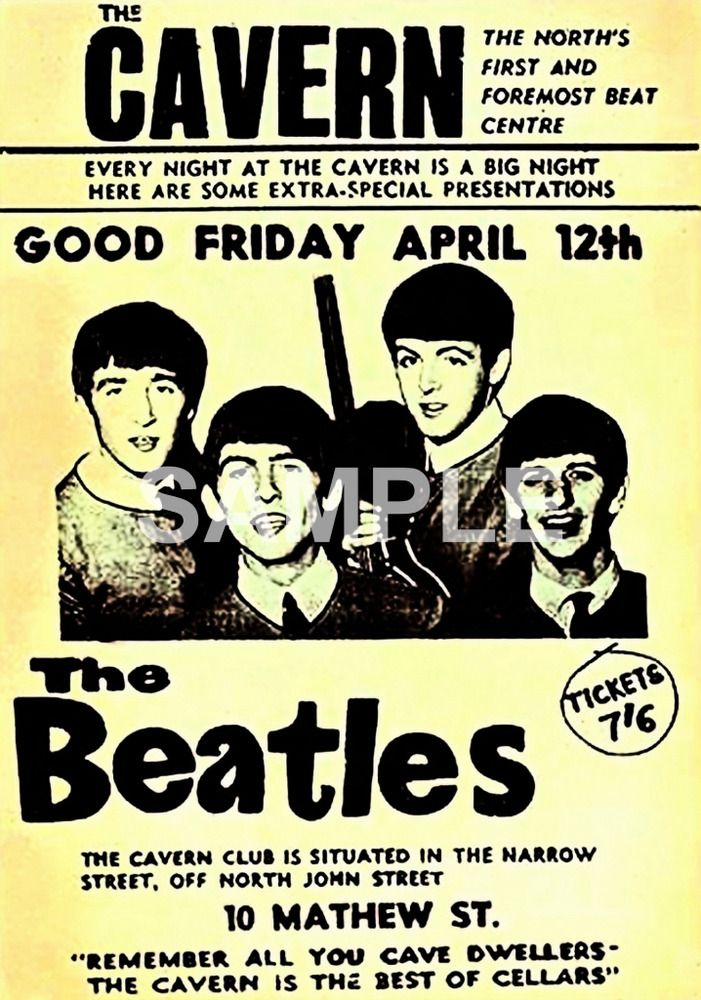 Details about The Beatles Cavern Club Liverpool 12th April 1963 A3 ...