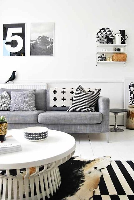 Wspaniały Karlstad: Grey Couch, White Living, Idea, Living Rooms, Black And White, Interiors Design, Black White, House, Grey Sofas