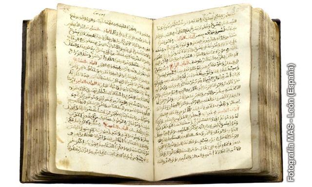 Ejemplar abierto de una traducción al árabe de los Evangelios