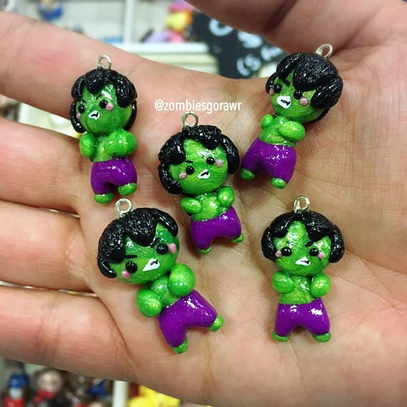 Angry Hulk Inspired Kawaii Green Man Charm