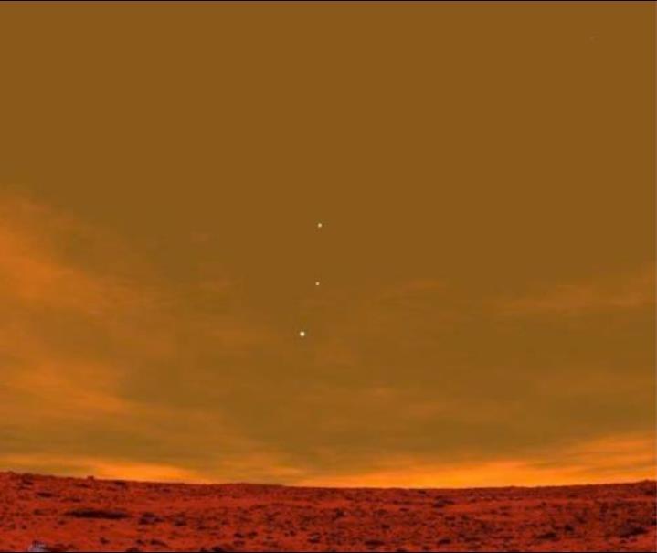 Earth, Jupiter, Venus as seen from Mars.