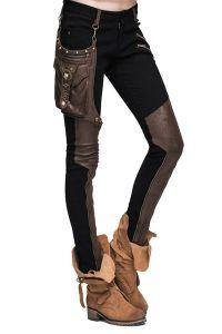 Steampunk Hose mit Kunstleder und abnehmbarer Tasche                                                                                                                                                                                 Mehr
