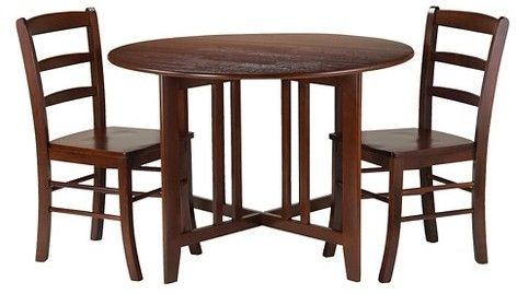 3 Piece Alamo Round Drop Leaf Table With 2 Ladder Back Chairs Wood/Red    Winsome
