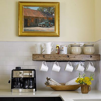 Nifty coffee station.  Hmmm....Kitchens Shelves, Teas Cups, S'Mores Bar, Hanging Mugs, Coffee Bars, Storage Ideas, Coffee Mugs, Coffe Stations, Coffee Stations