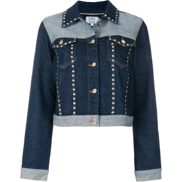 78a4ed9da3e Tommy Hilfiger Tommy x Gigi studded denim jacket featuring polyvore,  women's fashion, clothing, outerwear, jackets, blue, blue jean jacket, b…    A..