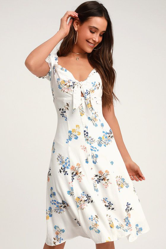 b293c8284bd3 Dare to be darling in the 4SI3NNA Ida White Floral Print Tie-Front Midi  Dress! A tie-front and cutout adds flirty detail at the front of this woven  dress ...