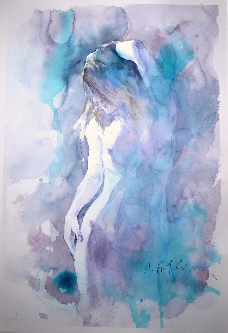 Roberto Andreoli STUDIO DI FIGURA FEMMINILE - Acquerello cm. 56x31