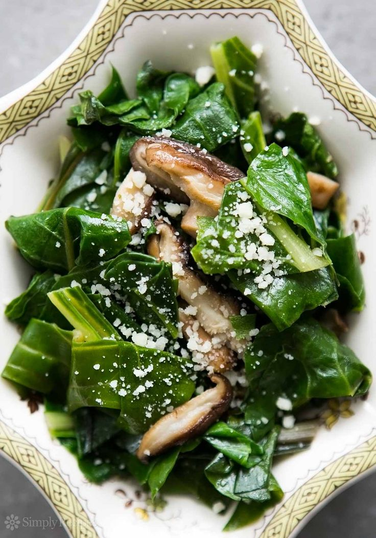 Swiss chard sautéed with shiitake mushrooms and sprinkled with Parmesan cheese. |  SimplyRecipes.com