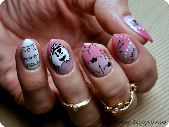 Walentynkowe paznokcie z naklejkami od EDbeauty