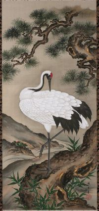 Crane with Pine Tree  松竹に鶴図  Japanese, Edo period, mid-19th century  Kamiya Seishin, Japanese, dates unknown, Hanging scroll; ink, color, and gold on silk, MFA