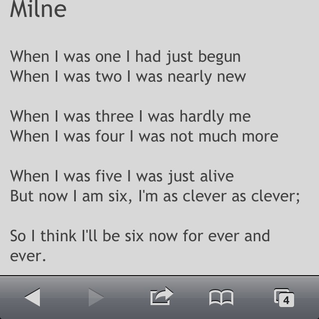 Poem from A.A Milne Now We Are Six