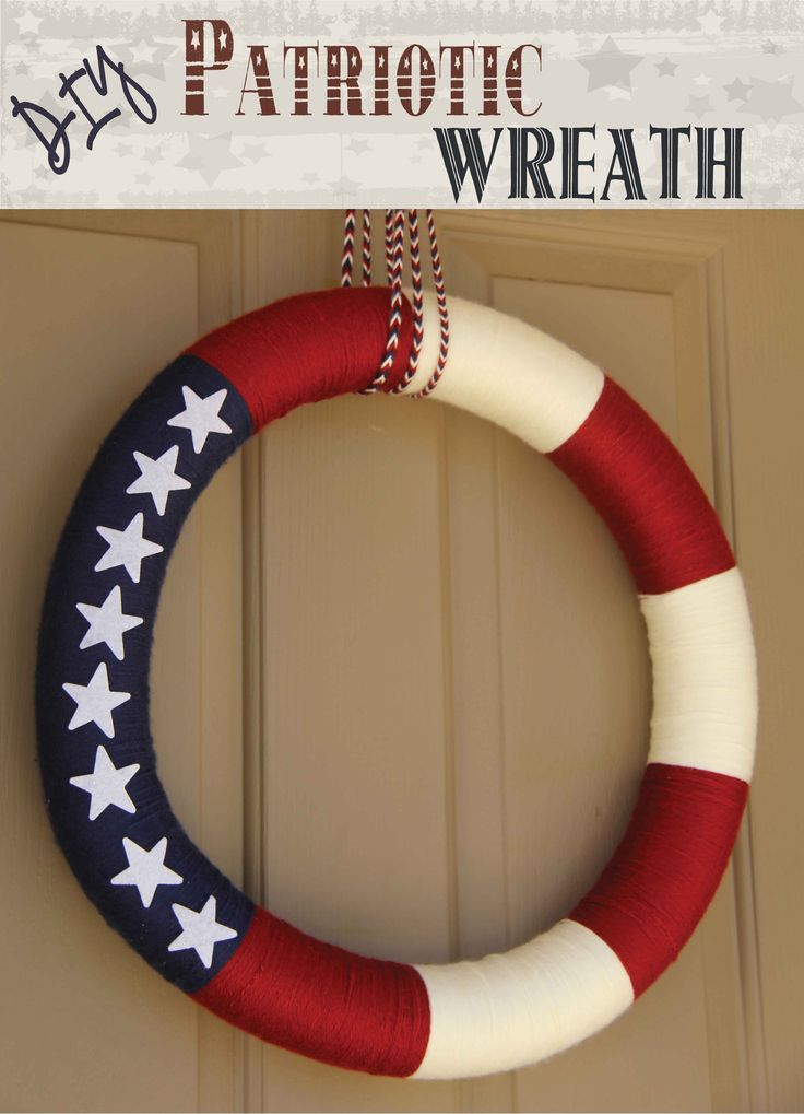 DIY #Patriotic Wreath - I made this #wreath in a few hours with a pool noodle, yarn and some foam stars. Easy peasy! Tested and reviewed by one of the 3 crazy sisters at: http://www.madefrompinterest.net