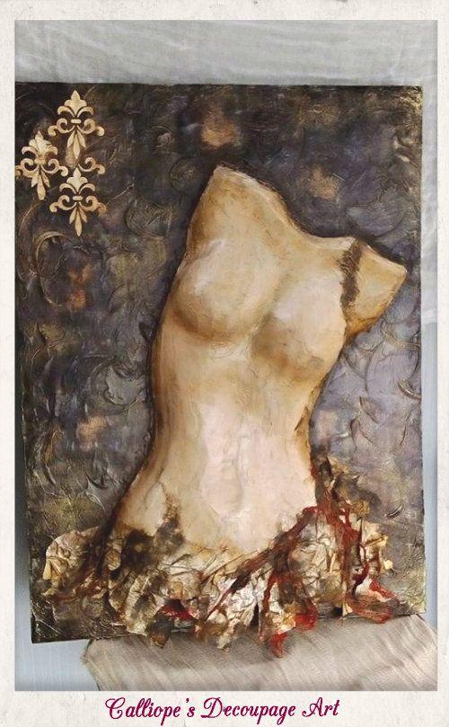 Γυναικείο μπούστο σε καμβά | Calliope's Decoupage Art