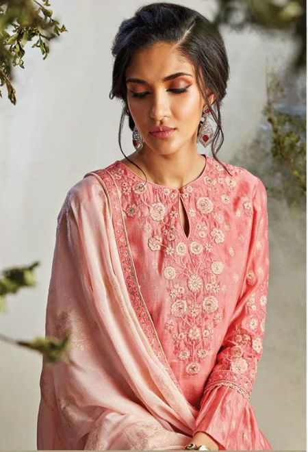 9247922972 Ganga Natural Mystic Pure Kora Silk Goldfoil Embroidery and Handwork Suit  6622