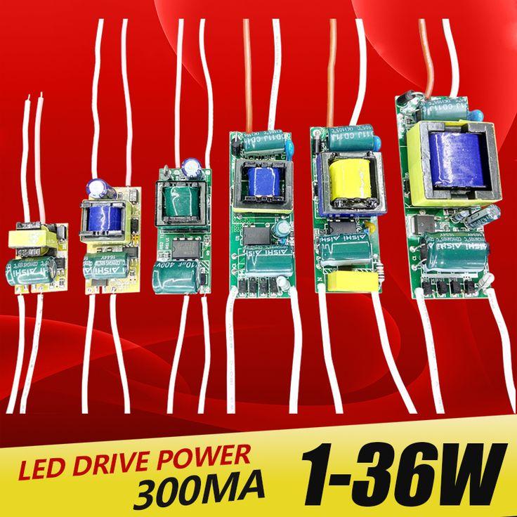 1-3 W, 4-7 W, 8-12 W, 15-18 W, 20-24 W, 25-36 W LED controlador de fuente de alimentación de corriente constante de Iluminación 110-265 V Salida 300mA Transforme