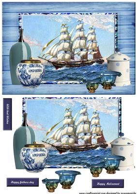 Vintage male card Sail Delfts bleu on Craftsuprint designed by Marijke Kok - great male card design in vintage style, with a sailship and delfts bleu elements - Now available for download!
