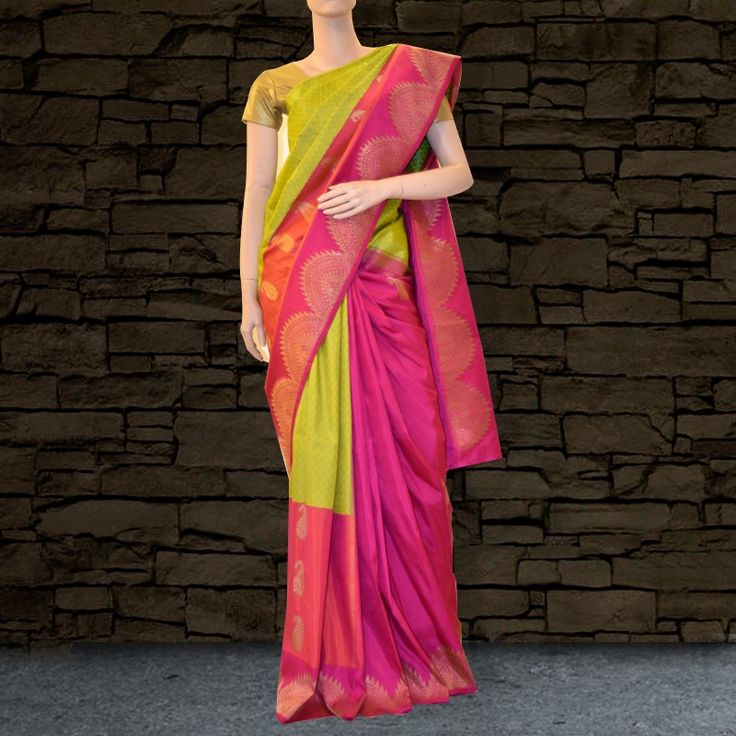 Parrot Green and Pink Kanchipuram Silk Saree