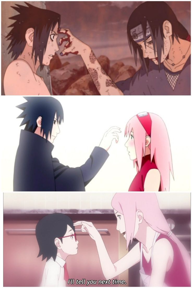 Uchihas poking the forehead of their loved ones  Itachi, Sasuke, Sakura, Sarada ❤️❤️❤️