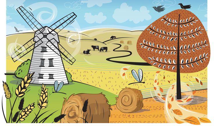 #joannakerr #newdivision #illustration #flatgraphic #line  #nature #harvest #windmill #tree #landscape