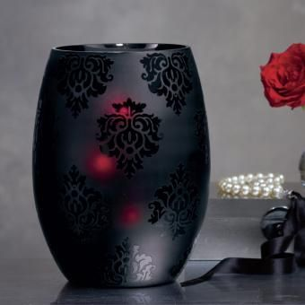 """NEW! The Forbidden Candle Vase! P91390 - As seductive as lingerie! Frosted glass hurricane reveals a passion for damask. Candle flame glows a flirtatious scarlet shade through the glass. For use with a pillar, Escential or GloLite jar, or tealight tree, all sold separately. Includes leveling beads. 10¾""""h, 8¼""""dia. http://www.partylite.biz/legacy/sites/nikkihendrix/productcatalog?page=productdetail&sku=P91390&categoryId=58203&showCrumbs=true"""