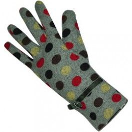 Grey Red jersey gloves