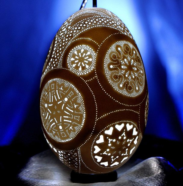 """A Lace Collage: [Franc] Grom created a unique design in each of the circles for an egg that represents many different ornate Slovene lace patterns."" -- Click through for an astonishing forum post on eggs; decorated, as art, as architectural forms, more... As several commenters pointed out, ""Eggsquisite!"""