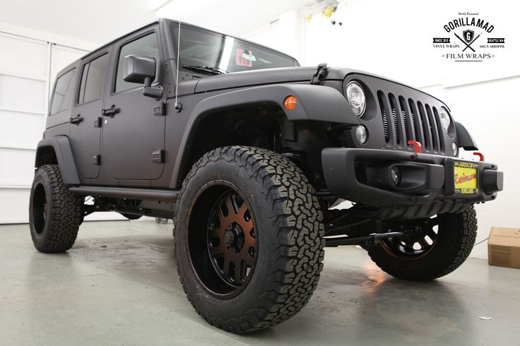 Blacked Out Jeep Wrangler >> 2017 Jeep Wrangler Rubicon full color change to Matte Black with lift kit and new wheels/tires ...