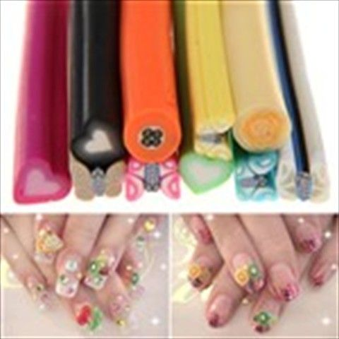 10pcs Pack DIY Cuttable Nail Art Fruit Strip Bar Beauty Canes for Nail & Cell Phone Case Decoration
