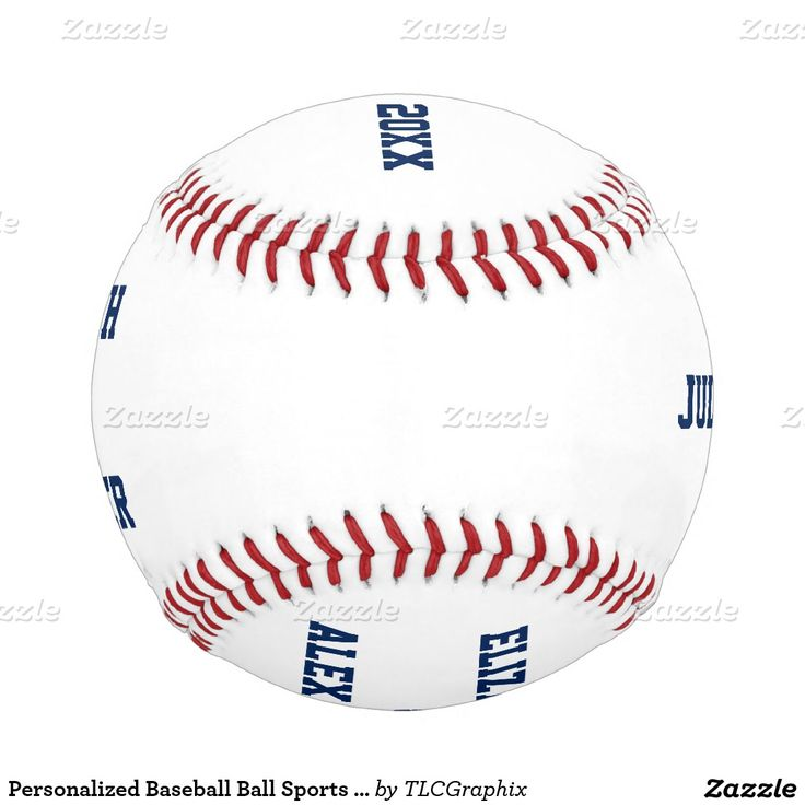 Personalized Baseball Ball Sports Fan Wedding  This custom designed unique wedding baseball features blue text with templates for the bride and groom and wedding or anniversary date and is great for a couple who plays, loves, coaches or plays professional baseball.