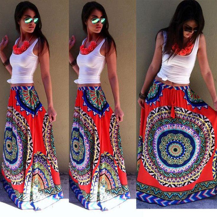 Nieuwe Mode Womens Zomer Rok BOHO Lange Maxi Bloemen Party Chiffon Rok Retrostyle Rok Hot in Hallo! Van harte welkom om onze winkel!Kwaliteit is de eerste met de beste service. Alle klanten zijn onze vrienden.Fash van rokken op AliExpress.com | Alibaba Groep