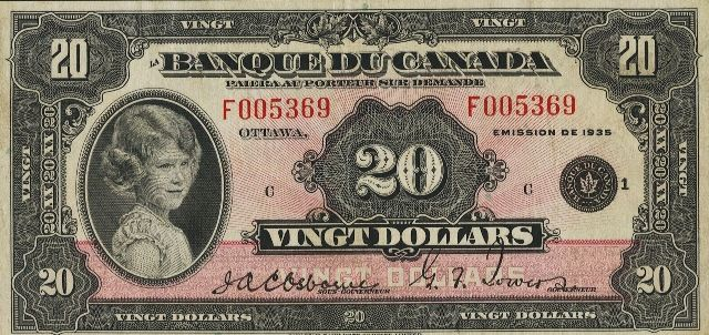 Ottawa 1935 $20 bills are very popular. They show a young Queen Elizabeth II when she was still just Princess Elizabeth. Her portrait alone adds lots of appeal. It also helps that these bank notes have a beautiful pink tint with a sunburst pattern (which is most visible on high grade bank notes). The Canadian Bank Note Company, Limited printed each of these bank notes for use by La Banque Du Canada.