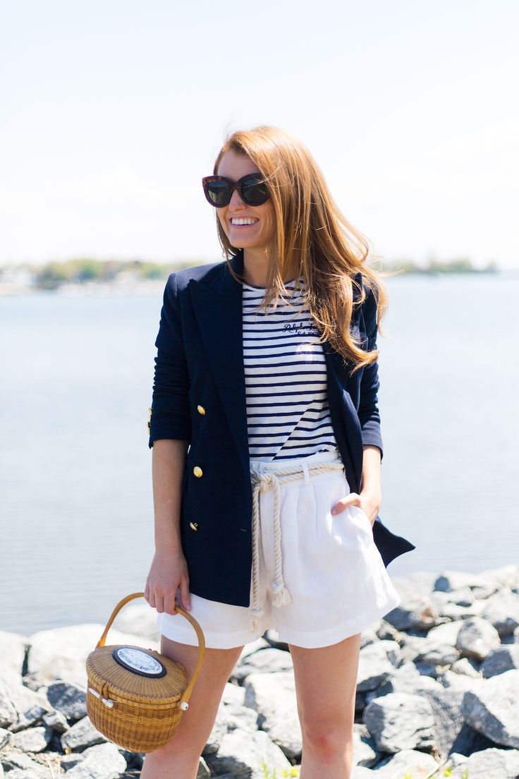 992674ce359 polo ralph lauren knit double-breasted blazer striped shirt linen high-rise  short and nantucket lightship basket