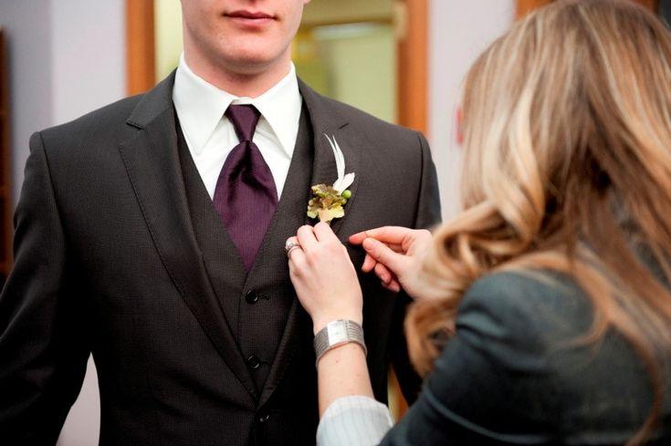 black tux black vest purple tie emd wedding