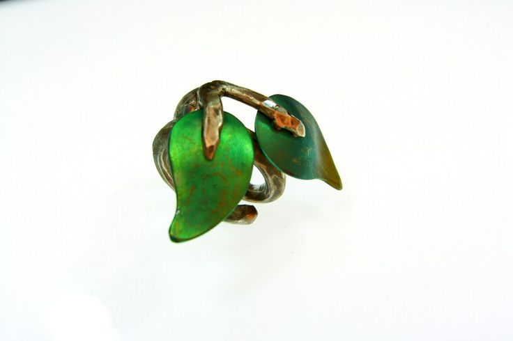 Titanium leaves. Hand made ring with sterling  silver and titanium